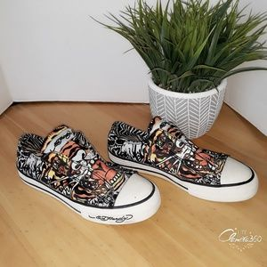 Ed Hardy Tiger Canvas Low Top Slip on Sneak size 7